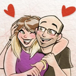 Caricature of a couple smiling at each other and with hearts flying out of their heads.