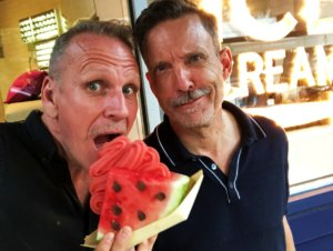 James Ian and his husband with a watermelon ice-cream