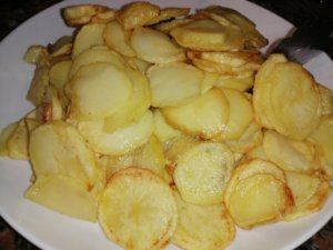 A fried potatoes plate