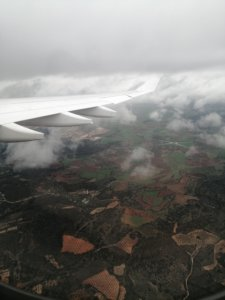 The views from an airplane window: the white plane wing and some crops on the ground