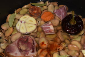 All the ingredients floating in a pot of vegetable broth