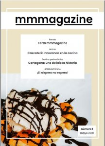 The cover of the May issue of mmmagazine, with the picture of some loquats with whipped cream and some chocolate fudge.