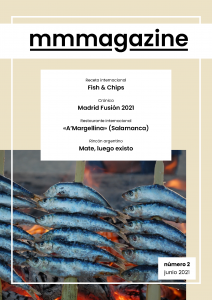 Cover of June's issue of mmmagazine, with several sardines being grilled.